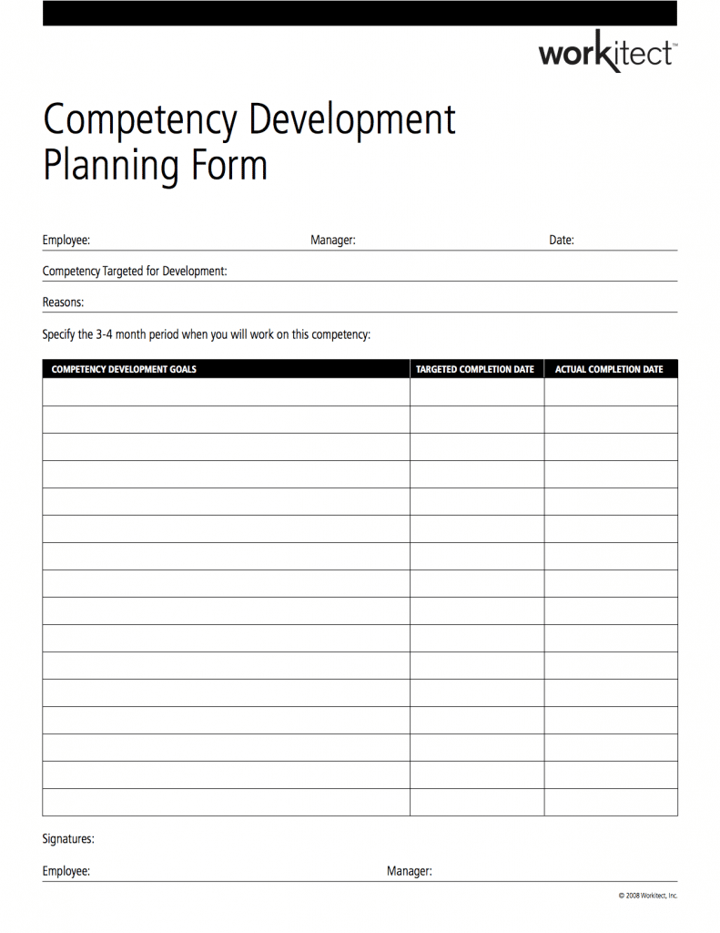 competency development planning form